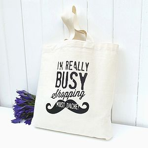 Busy Shopping 'Moustache' Cotton Mini Tote - women's accessories