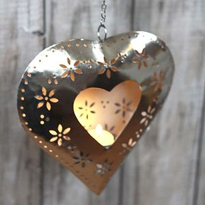 Hanging Heart Cut Out Flower T Light - outdoor lights & lanterns