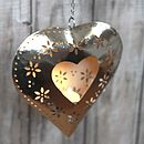 Hanging Heart Cut Out Flower T Light