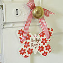 Red Floral Personalised Butterfly Door Sign