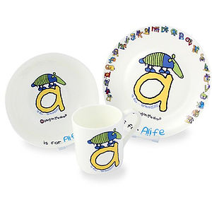 Personalised China Alphabet Breakfast Set - tableware