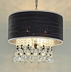 Crystal Pendant Chandelier With Fabric Shade - pendant lights