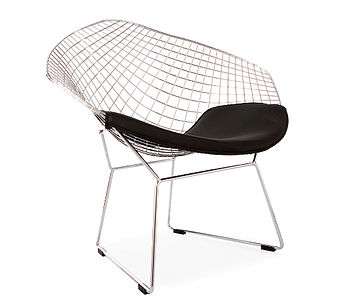 Black Chrome Retro Bertoia Style Mesh Chair