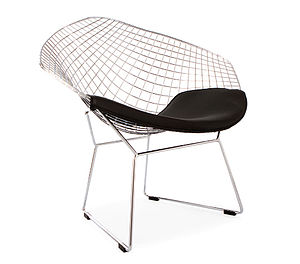 Black Chrome Retro Bertoia Style Mesh Chair - furniture