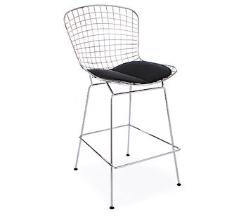 Black Chrome Retro Modern Bertoia Bar Stool