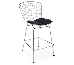 Black Chrome Retro Modern Bertoia Bar Stool - chairs