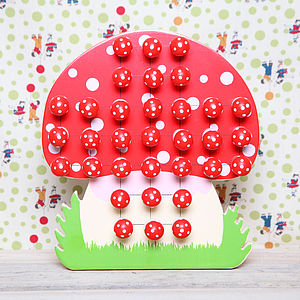 Wooden Toadstool Solitaire Game - board games