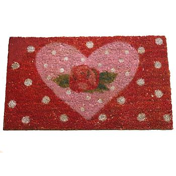 ROSE DESIGN HEART DOORMAT