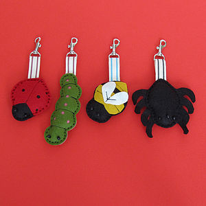 Handmade Bugs Felt Key Ring