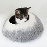 Two Tone Felt Cat Cave Bed And Ball - pets