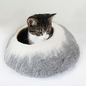 Two Tone Felt Cat Cave Bed And Ball - cats