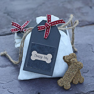 Hand Baked Dog Biscuits In Gift Bag - christmas gifts for pets