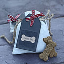 Thumb hand baked dog biscuits in gift bag