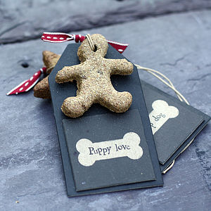Hand Baked Dog Biscuit On Gift Tag - food, feeding & treats