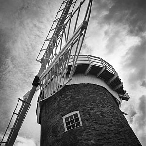 Horsey Windpump, Black And White Signed Art Print - architecture & buildings