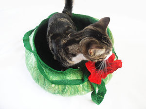 Cat Bed Basket With Poppy Flower - cat beds