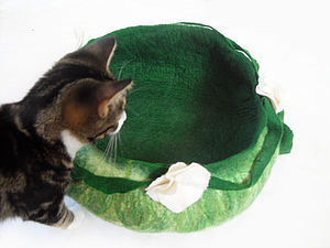 Cat Bed Basket Handmade From Wool