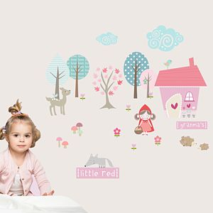 Little Red Riding Hood Fabric Wall Stickers - wall stickers