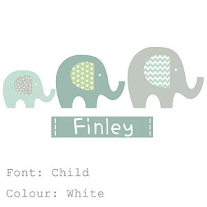 Elephant Name Fabric Wall Stickers - children's room