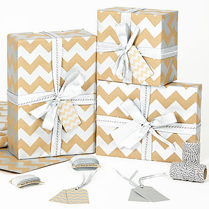 Silver Chevron Brown Christmas Wrapping Paper - ribbon & wrap