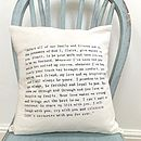 Hand Written Quote/Wedding Vows Cushion