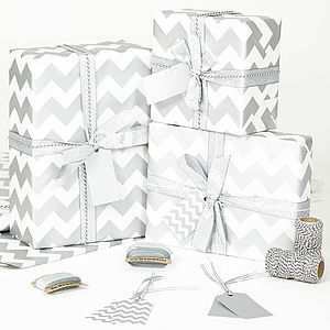 Silver Chevron White Wrapping Paper - ribbon & wrap