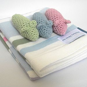 Blanket And Crochet Mice Rattle Gift Set - blankets, comforters & throws