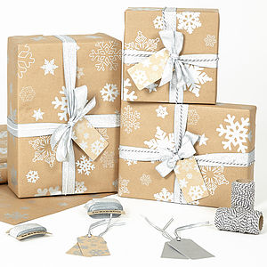 Silver Snowflakes Brown Wrapping Paper - cards & wrap
