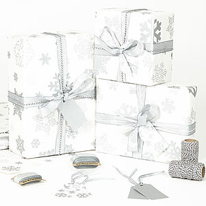 Silver Snowflakes White Wrapping Paper - christmas sale