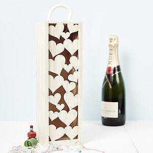 Lasercut Love Heart Bottle Box - ribbon & wrap