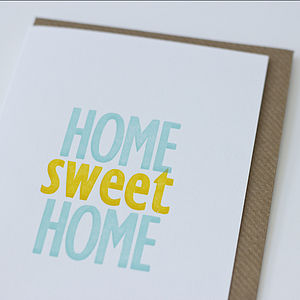 'Home Sweet Home' Letterpress Card