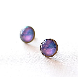 Purple Galaxy Earrings - earrings