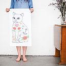 Tattoo Cat Tea Towel