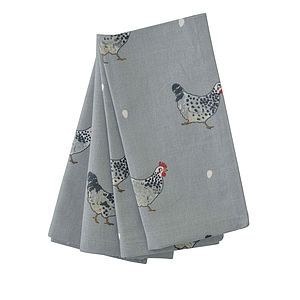 Set Of Four Chicken Napkins - dining room