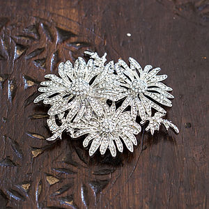 Crystal Triple Flower Brooch - pins & brooches