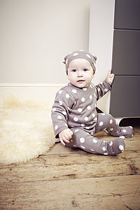 Bamboo Knitted Polka Dot Bodysuit And Hat Set
