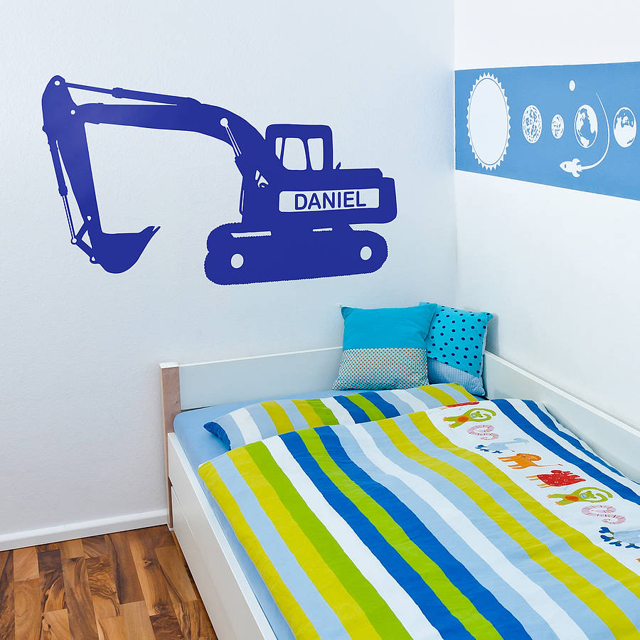 Personalised digger vinyl wall sticker by oakdene designs personalised digger vinyl wall sticker amipublicfo Images