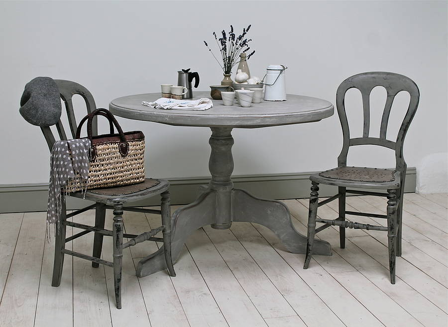 Distressed painted pine pedestal table by distressed but not forsaken - Painted dining tables distressed ...
