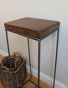 Industrial Oak Bar Stool - living room