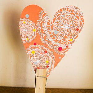 Orange Dotty Bohemian Heart Decoration