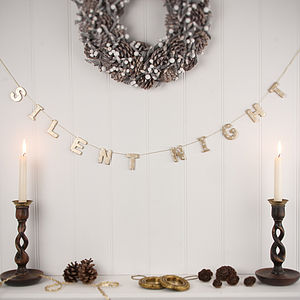 Silent Night Christmas Garland - garlands, bunting & hanging decorations