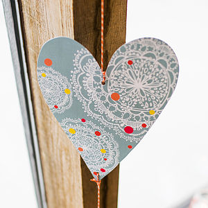 Vintage Blue Dotty Bohemian Heart Decoration - room decorations