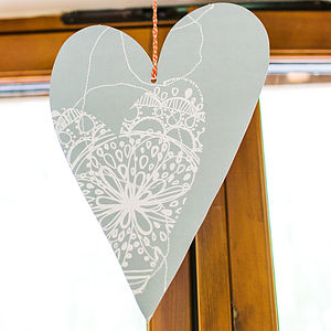 Vintage Blue Stitch Bohemian Heart Decoration - room decorations