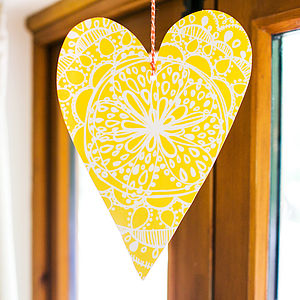 Yellow Bohemian Heart Decoration - room decorations