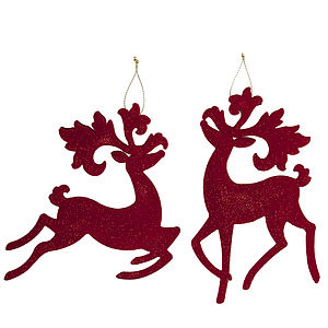 Red Flock Reindeer Christmas Decoration