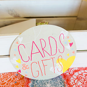 Cards & Gifts Circle Sign - decorative letters & signs
