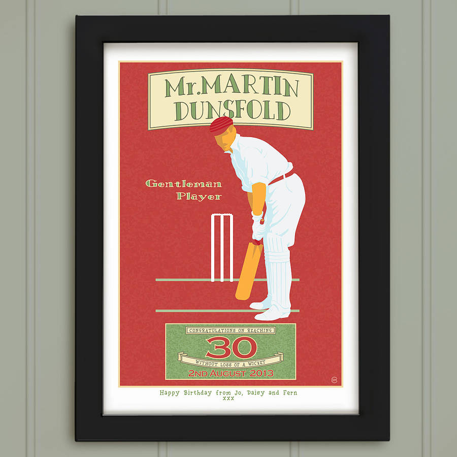 Vintage Style Cricket, Personalised Sports Print