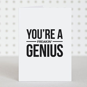 'Genius' Congratulations Card - exam congratulations gifts