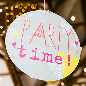 Party Time Circle Sign - outdoor decorations