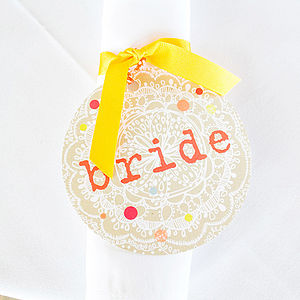Bride Wedding Name Tag